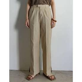 [低身長サイズ有]ストレッチコットン裾ベンツセンタープレスパンツ (ベージュ)