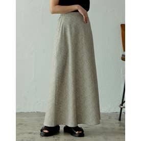 [飯豊まりえさん着用][低身長サイズ有]総柄セミフレアロングスカート (アニマルグレージュ)