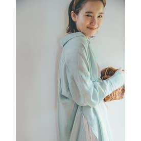 [飯豊まりえさん着用][低身長サイズ有]サイドスリット楊柳シアーシャツワンピース (ミント)