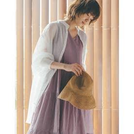 [飯豊まりえさん着用]ボリュームシアーシャツチュニック (ホワイト)