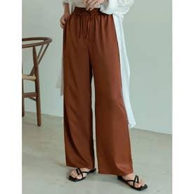 [低身長/高身長サイズ有]ポリツイルドロストリラックスパンツ (ブラウンオレンジ)