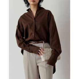 涼感リネンブレンドオーバーサイズシャツ (ブラウン)