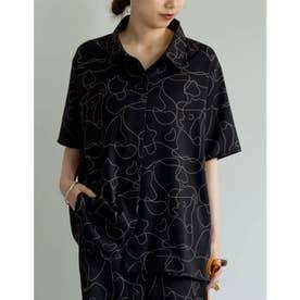 線画とろみオーバーサイズ半袖シャツ (線画ブラック)