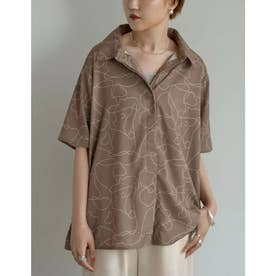線画とろみオーバーサイズ半袖シャツ (線画モカ)