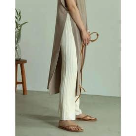 [低身長/高身長サイズ有]透かし編みストレートニットパンツ (アイボリー)
