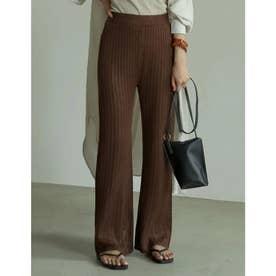 [低身長/高身長サイズ有]透かし編みストレートニットパンツ (ブラウン)