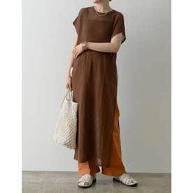 [低身長サイズ有]リネンタッチ透かし編みロングニットワンピース (ブラウン)