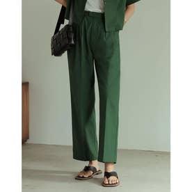 [低身長/高身長サイズ有]リネンブレンドセンタープレスクロップドパンツ (グリーン)