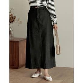 [低身長/高身長サイズ有]マキシデニムスカート (ブラック)