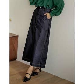 [低身長/高身長サイズ有]マキシデニムスカート (ネイビー)