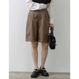 [低身長サイズ有]エコレザーショートパンツ (ブラウン)