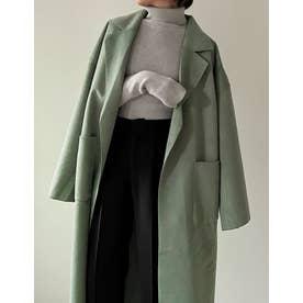 [神山まりあさん着用][低身長サイズ有]ダブルフェイス軽量ガウンコート (グリーン)