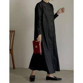 [低身長サイズ有][2点セット]マルチWAY襟付きライトデニムシャツワンピース (ブラック)