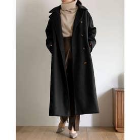[神山まりあさん着用][低身長サイズ有]3WAYフェイクウールロングステンカラーコート (ブラック)