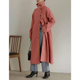 [神山まりあさん着用][低身長サイズ有]3WAYフェイクウールロングステンカラーコート (ピンク)