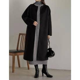 [低身長サイズ有]フェイクウールミドル丈コクーンノーカラーコート (ブラック)