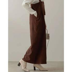 [低身長向け/高身長向けサイズ対応]起毛ツイルアシメジップジャンパースカート (ブラウン)