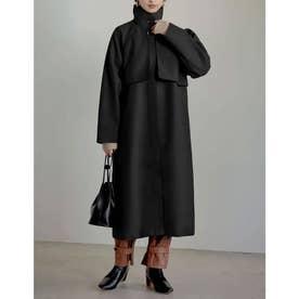 2WAYオーバーサイズフェイクウールパイピングスタンドカラーコート (ブラック)