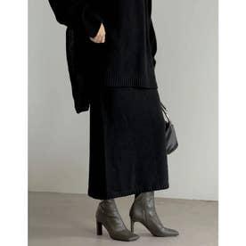 [低身長サイズ有]鹿の子編みストレートニットスカート (ブラック)