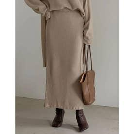 [低身長サイズ有]鹿の子編みストレートニットスカート (ベージュ)