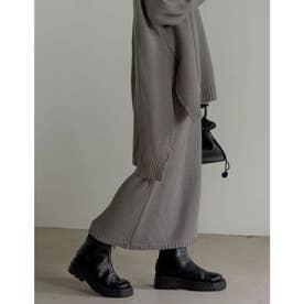 [低身長サイズ有]鹿の子編みストレートニットスカート (グレー)