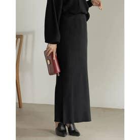 [低身長サイズ有]サイドリブニットタイトスカート (ブラック)