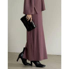 [低身長サイズ有]サイドリブニットタイトスカート (モカパープル)
