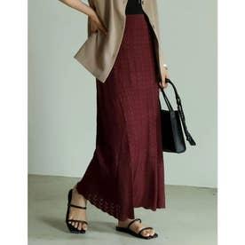 [サステナブル][低身長向け/高身長向けサイズ対応]クロシェ柄編みロングフレアスカート (バーガンディ)