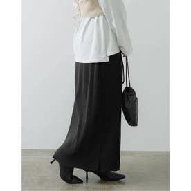 [低身長向けSサイズ有]コーデュロイ風プリーツIラインスカート (ブラック)