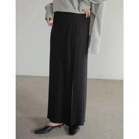 [低身長サイズ有]リブニットラップスカート (ブラック)