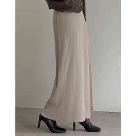 [低身長サイズ有]リブニットラップスカート (ベージュ)