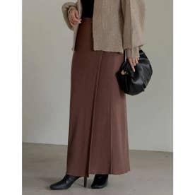 [低身長サイズ有]リブニットラップスカート (ブラウン)