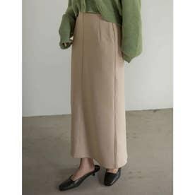 [低身長サイズ有]ダンボールマキシナロースカート (アイボリーベージュ)