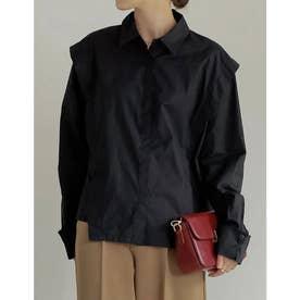 ストレッチコットンショルダーレイヤードライクシャツ (ブラック)
