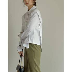 ストレッチコットンショルダーレイヤードライクシャツ (オフホワイト)