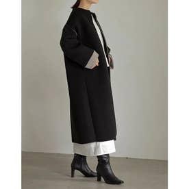 [低身長サイズ有]裏リブニットボンディングノーカラーコート (ブラック)