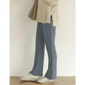 [親子ペア/大人][低身長向け/高身長向けサイズ対応]ケーブルニットソーキックフレアレギンスパンツ (ブルー)