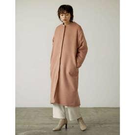 [低身長サイズ有]カラーシャギーロングノーカラーコート (ピンク)