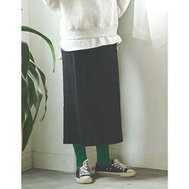 [IWU(アイダブリュー)][低身長サイズ有]ケーブル編みリサイクルニットタイトスカート (ブラック)