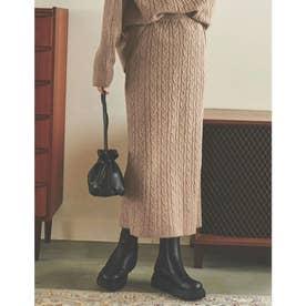 [IWU(アイダブリュー)][低身長サイズ有]ケーブル編みリサイクルニットタイトスカート (モカ)