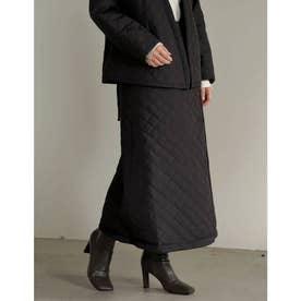 [低身長サイズ有]マルチWAY裏フリースリサイクルタフタキルティングスカート (ブラック)