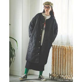 [IWU(アイダブリュー)][低身長サイズ有]リサイクルタフタリバーシブル中綿キルティングコート (ブラック×カーキ)