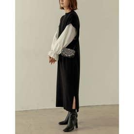 [低身長サイズ有][2点セット]ブロードシャツ×ドロップショルダーロングニットワンピース (ブラック)