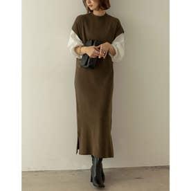[低身長サイズ有][2点セット]ブロードシャツ×ドロップショルダーロングニットワンピース (ブラウン)