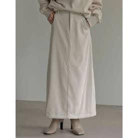 [低身長サイズ有]コーデュロイナロースカート (アイボリー)