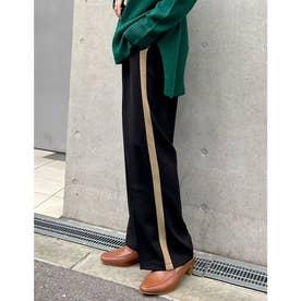 [低身長/高身長サイズ有]とろみクロスセンタープレスサイドラインパンツ (ブラック)