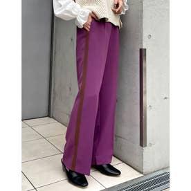 [低身長/高身長サイズ有]とろみクロスセンタープレスサイドラインパンツ (パープル)