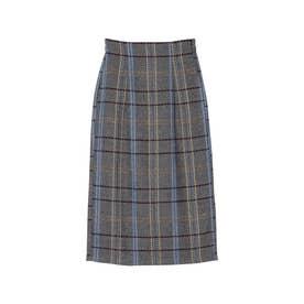 ウールライクチェックタイトスカート (グレー)