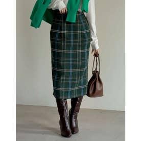ウールライクチェックタイトスカート (グリーン)