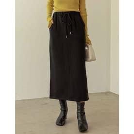 [低身長サイズ有]USAコットン裏起毛タイトスカート (ブラック)